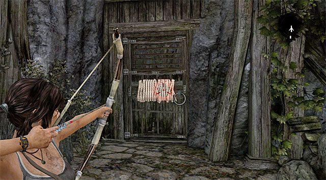 Ruszaj dalej na wschód, używając strzały z liną do wyrwania zamkniętych drzwi - Spotkaj się z Rothem - 9 - Rzadziej uczęszczana ścieżka - Tomb Raider - poradnik do gry
