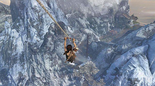 Rozpocznij od złapania się pobliskiej liny i zaczekaj aż Lara wyląduje w nowym miejscu - Rozpal ognisko, by nadać sygnał wezwania pomocy - 8 - Wołanie o pomoc - Tomb Raider - poradnik do gry