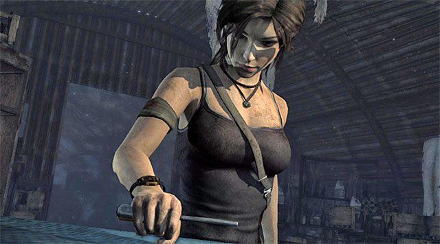 Po znalezieniu się w nowym obszarze wejdź do prawego magazynu i go dokładnie zbadaj - Rozpal ognisko, by nadać sygnał wezwania pomocy - 8 - Wołanie o pomoc - Tomb Raider - poradnik do gry