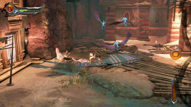 Dalsza droga biegnie przed chatą w lewo - Zerwany most, zagadka z walcem i Meduza - Początek wioski (2) - God of War: Ascension - poradnik do gry
