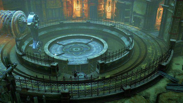 Gdy walec minie wej�cie ostro�nie pobiegnij za nim, a� natrafisz na barykad� z desek blokuj�c� wej�cie na �rodkow� platform� - Zerwany most, zagadka z walcem i Meduza - Pocz�tek wioski (2) - God of War: Ascension - poradnik do gry