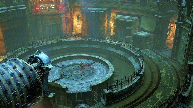 Znajdziesz na niej trzy dźwignie sterujące kamiennymi blokami na zewnętrznym okręgu - Zerwany most, zagadka z walcem i Meduza - Początek wioski (2) - God of War: Ascension - poradnik do gry