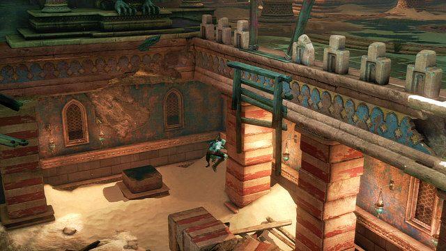 Skorzystaj z utworzonych gruzów by wskoczyć na drewniane belki i wejdź na wyższy poziom - Zerwany most, zagadka z walcem i Meduza - Początek wioski (2) - God of War: Ascension - poradnik do gry