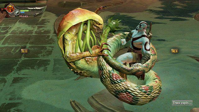 Staniesz tutaj do walki z kobiet� w�em - meduz� - Zerwany most, zagadka z walcem i Meduza - Pocz�tek wioski (2) - God of War: Ascension - poradnik do gry