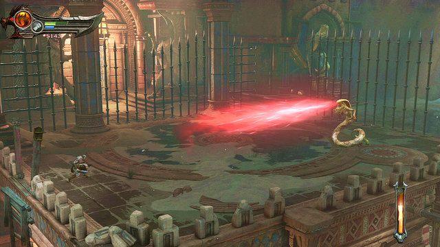 Jej charakterystyczną umiejętnością jest skamieniające spojrzenie - Zerwany most, zagadka z walcem i Meduza - Początek wioski (2) - God of War: Ascension - poradnik do gry