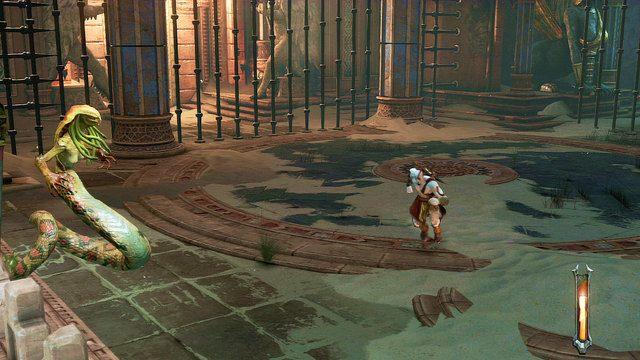 Meduza odporna jest na podbicie i najlepiej walczy� z ni� podobnie jak z cyklopem oraz s�oniem - Zerwany most, zagadka z walcem i Meduza - Pocz�tek wioski (2) - God of War: Ascension - poradnik do gry