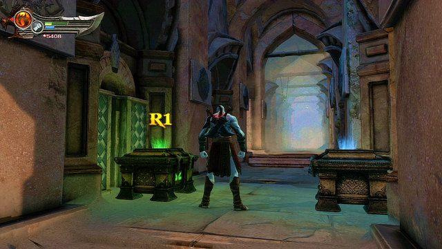 Po starciu przejdź przez pobliskie wrota i wejdź w głąb budowli - Zerwany most, zagadka z walcem i Meduza - Początek wioski (2) - God of War: Ascension - poradnik do gry