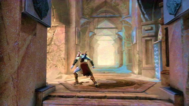 Kawałek dalej natrafisz na grupkę pasożytów i korytarz prowadzący w lewo - Zerwany most, zagadka z walcem i Meduza - Początek wioski (2) - God of War: Ascension - poradnik do gry