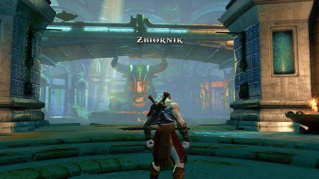 Kierując się w kierunku głowy byka natrafisz na kilka pasożytów rozpraw się z przeciwnikami, a następnie wyskocz po posągu byka na pomost biegnący nad areną ostatniego starcia - 6 - Zbiornik - God of War: Ascension - poradnik do gry