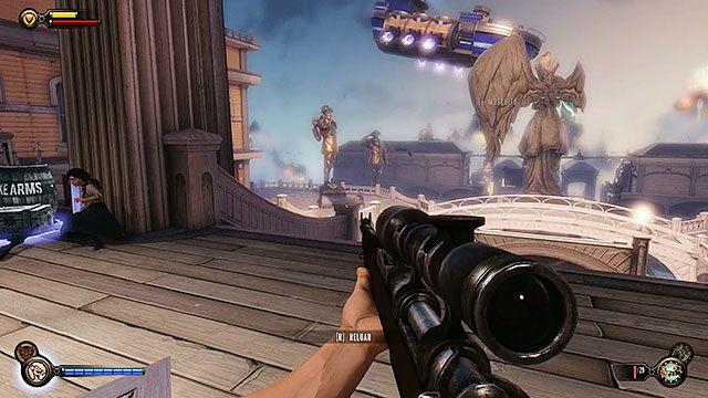 Po wyjściu z Sali Bohaterów czeka Cię potyczka z dużym oddziałem policji - Uruchom gondolę na Żołnierskim Polu - Rozdział 12 - Wróć na Plac Sali Bohaterów - BioShock: Infinite - poradnik do gry