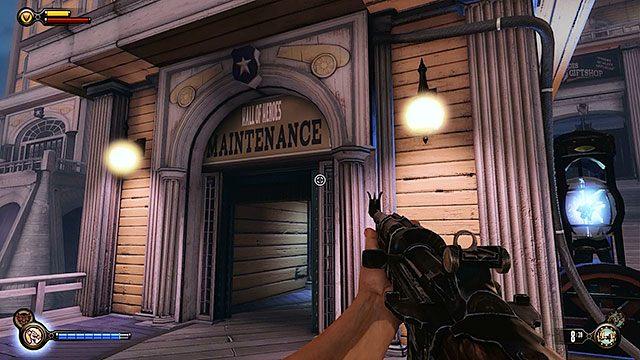 Po walce użyj elektrycznego dżokeja na węźle elektrycznym niedaleko posągu anioła - Uruchom gondolę na Żołnierskim Polu - Rozdział 12 - Wróć na Plac Sali Bohaterów - BioShock: Infinite - poradnik do gry