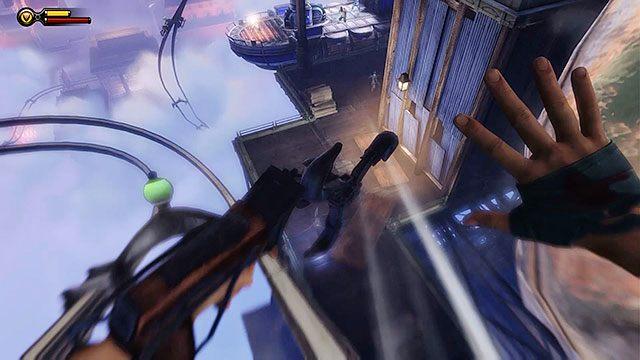 Udaj się w stronę gondoli i wskocz na wstęgę - Uruchom gondolę na Żołnierskim Polu - Rozdział 12 - Wróć na Plac Sali Bohaterów - BioShock: Infinite - poradnik do gry