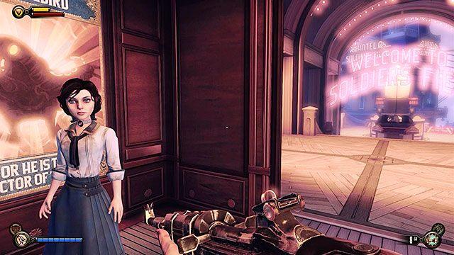 Po przeszukaniu okolicznych budynk�w, udaj si� do windy, kt�ra zawiezie Ci� z powrotem na �o�nierskie Pole - Uruchom gondol� na �o�nierskim Polu - Rozdzia� 12 - Wr�� na Plac Sali Bohater�w - BioShock: Infinite - poradnik do gry