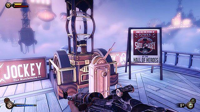 U�yj d�okeja na w�le elektrycznym zasilaj�cym panel sterowania, po czym poci�gnij za d�wigni�, aby przywo�a� gondol� - Uruchom gondol� na �o�nierskim Polu - Rozdzia� 12 - Wr�� na Plac Sali Bohater�w - BioShock: Infinite - poradnik do gry