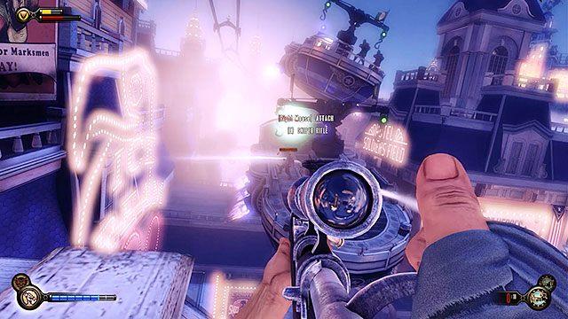 W czasie, gdy gondola będzie powoli zjeżdżała na stację, nad promenadę przylecą barki policyjne - Uruchom gondolę na Żołnierskim Polu - Rozdział 12 - Wróć na Plac Sali Bohaterów - BioShock: Infinite - poradnik do gry