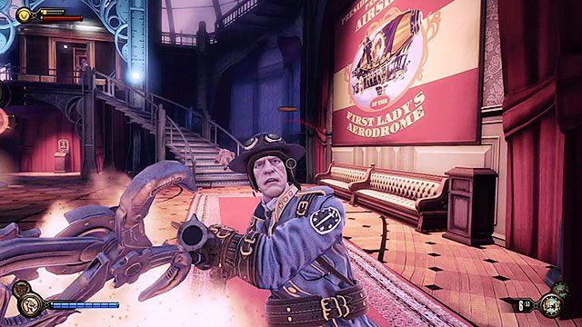 Na górnej stacji spotkasz jeszcze kilku policjantów strzegących dostępu do aerodromu - Wjedź gondolą na okręt Pierwsza Dama - Rozdział 12 - Wróć na Plac Sali Bohaterów - BioShock: Infinite - poradnik do gry