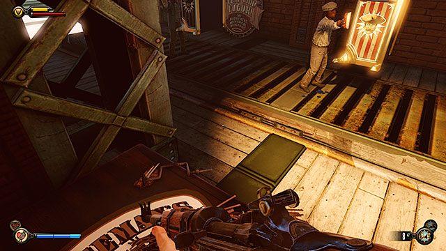 Na środku doków znajdziesz windę towarową na wstęgę - Znajdź Elizabeth - Rozdział 13 - Doki Finkton - BioShock: Infinite - poradnik do gry