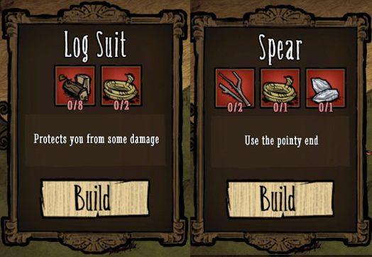 Żeby bez problemu pokonać przeciwników, warto uzbroić się we włócznie (Spear) oraz drewniany pancerz (Log Suit) - Obrona obozu - Założenie obozu - Dont Starve - poradnik do gry