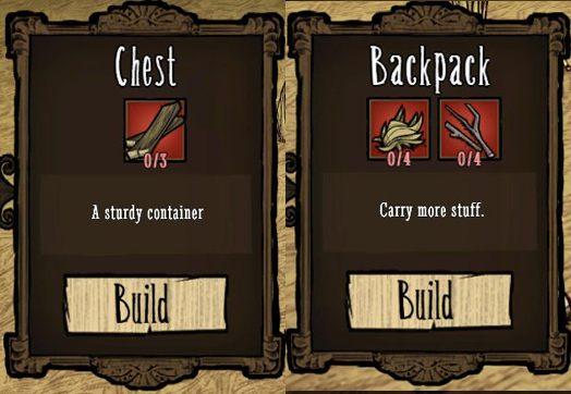 Służą do tego plecak (Backpack) oraz skrzynia (Chest) - Rozbudowa obozu - Założenie obozu - Dont Starve - poradnik do gry