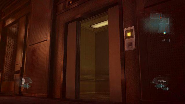 Jak tylko winda się otworzy, wejdź do środka, poczekaj na Jessicę i wciśnij przycisk z prawej, by wjechać na górę - Duchy Veltro - część I - Epizod 3 - Resident Evil: Revelations - poradnik do gry