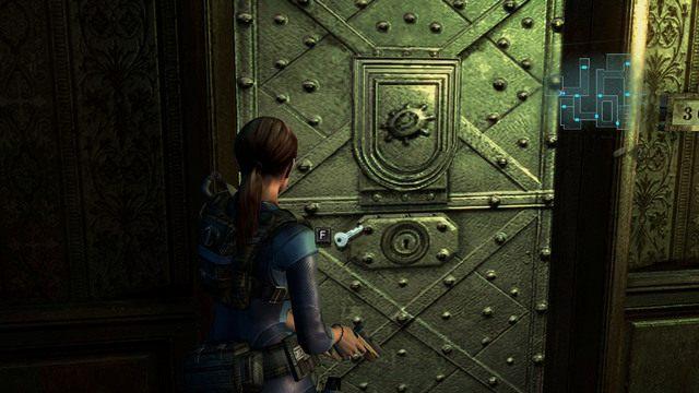 Idąc cały czas przed siebie, odwiedź pokój z symbolem hełmu - Duchy Veltro - część II - Epizod 3 - Resident Evil: Revelations - poradnik do gry