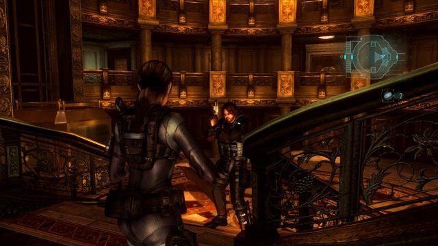Gdy znajdziesz się w dużym oświetlonym hallu, udaj się na jego przeciwległy koniec i przyjrzyj kartce pozostawionej obok drzwi - Duchy Veltro - część II - Epizod 3 - Resident Evil: Revelations - poradnik do gry