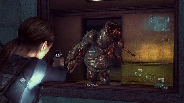 Gdy będziesz już gotowy, strzel przez okno w łańcuch i rozpocznij starcie - Duchy Veltro - część II - Epizod 3 - Resident Evil: Revelations - poradnik do gry