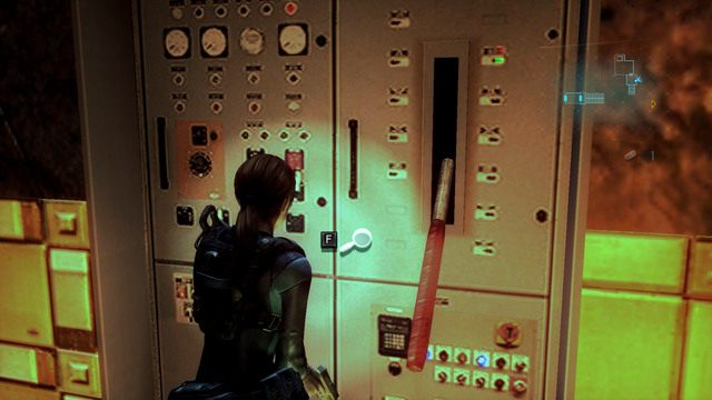 Przejdź przez nie, a następnie wejdź po schodach z lewej i pociągając dźwignię uruchom zasilanie - Koszmar powraca - Epizod 4 - Resident Evil: Revelations - poradnik do gry
