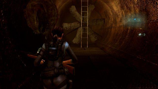 Po uzupełnieniu zapasów, zeskocz na sam dół i wejdź po drabinie z drugiej strony - Koszmar powraca - Epizod 4 - Resident Evil: Revelations - poradnik do gry