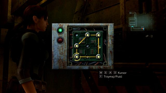 Potem wystarczy, że poprzesuwasz obręcze na świecące punkty, a otrzymasz figurę widoczną na screenie - Koszmar powraca - Epizod 4 - Resident Evil: Revelations - poradnik do gry