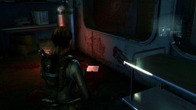 Gdy dotrzesz do miejsca, gdzie zamordowano kobietę, zbadaj leżący na ziemi dziennik - Koszmar powraca - Epizod 4 - Resident Evil: Revelations - poradnik do gry