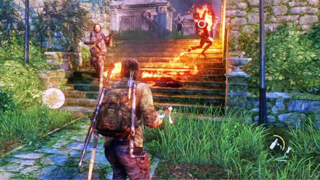 Zamiast tego spr�buj obiec jak najszybciej ca�y cmentarz i zbierz wszystkich wrog�w w jednym w�skim przej�ciu - Cmentarz - Miasteczko Billa - The Last of Us - poradnik do gry