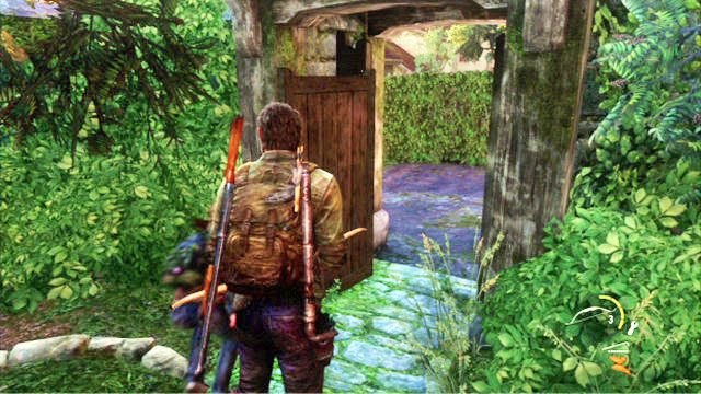 Gdy teren b�dziesz czysty, udaj si� na drugi koniec cmentarza i poczekaj, a� Bill otworzy drzwi - Cmentarz - Miasteczko Billa - The Last of Us - poradnik do gry