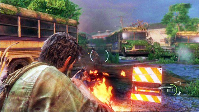 Id�c dalej wzd�u� kraw�dzi lokacji, zostaniesz wreszcie zauwa�ony i zaatakowany przez grupk� mutant�w - Cmentarz - Miasteczko Billa - The Last of Us - poradnik do gry