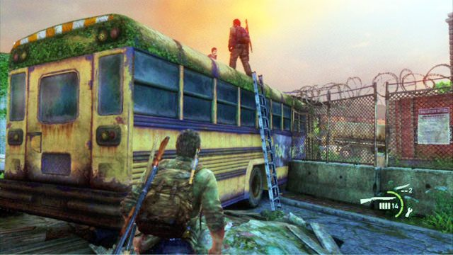 Gdy teren b�dzie czysty, przyjrzyj si� autobusowi po lewej - Cmentarz - Miasteczko Billa - The Last of Us - poradnik do gry