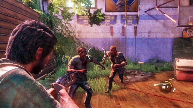 Na samym pocz�tku starcia skup si� na lewym rogu lokacji - Ucieczka z budynku szko�y - Miasteczko Billa - The Last of Us - poradnik do gry