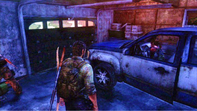 Dotrzesz w ten spos�b do gara�u z dzia�aj�cym samochodem - Ucieczka z budynku szko�y - Miasteczko Billa - The Last of Us - poradnik do gry
