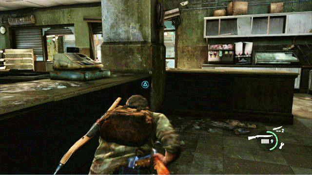 Na pocz�tku zastrzel z karabiny wroga przed tob�, a nast�pnie kieruj si� w prawo, zabijaj�c nadbiegaj�cych bandyt�w - Samotna i porzucona - Pittsburgh - The Last of Us - poradnik do gry