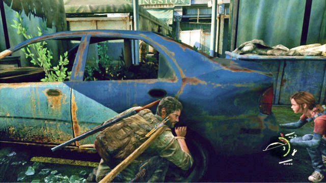 Na pocz�tku udaj si� szybko na lewy kraniec lokacji i schowaj si� za stoj�cym tam niebieskim pojazdem - Samotna i porzucona - Pittsburgh - The Last of Us - poradnik do gry