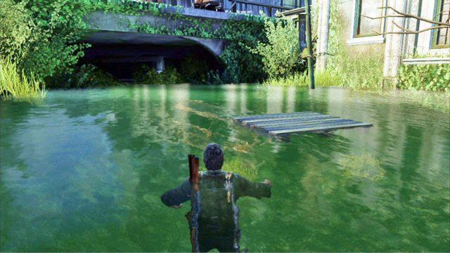 Po jej zako�czeniu wejd� do wody i p�y� przed siebie, a� zobaczysz dryfuj�c� drewnian� palet� - Samotna i porzucona - Pittsburgh - The Last of Us - poradnik do gry