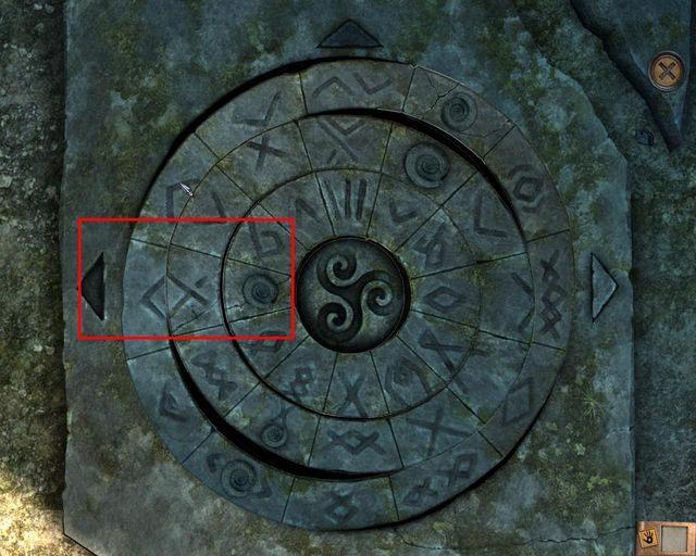 Obrazek powyżej ukazuje, jak ułożyć symbole, aby otworzyć drzwi po lewej - Tajemnice cmentarza - Rozdział 1 - Posiadłość - Dracula 4: The Shadow of the Dragon - poradnik do gry