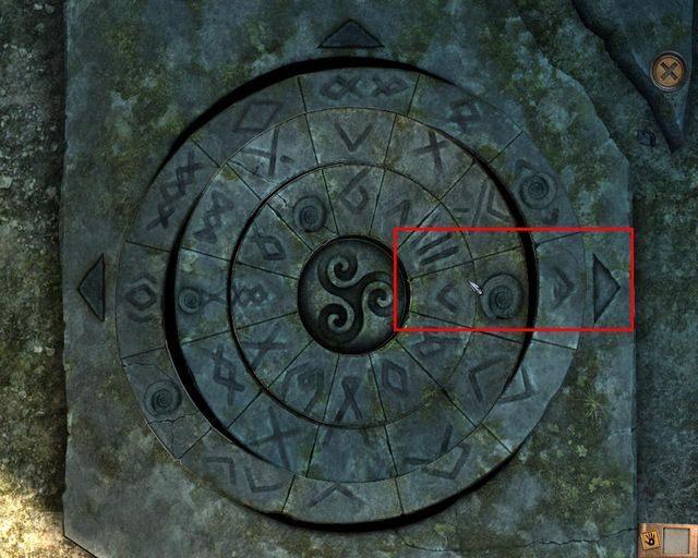 Ułóż krąg tak, jak pokazano to na obrazku, a następnie wejdź do niewielkiej salki - Tajemnice cmentarza - Rozdział 1 - Posiadłość - Dracula 4: The Shadow of the Dragon - poradnik do gry