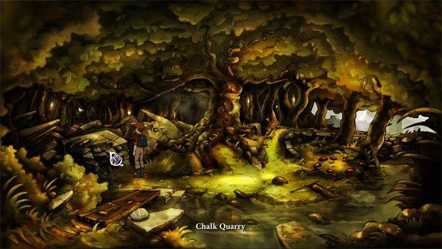 Przejdź przez drewnianą kładkę, a z lewej strony natrafisz na kopalnię kredy skąd zabierz kruchą kredę - Zwykły letni dzień - Solucja - The Night of the Rabbit - poradnik do gry