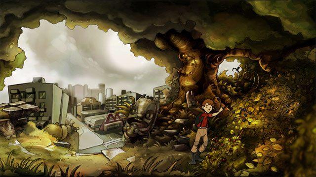 Skieruj się w prawo, przejdź obok muru i widzianego w oddali miasta - na końcu natrafisz na ciernisty krzew, który zagradza ci dostęp do jeżyn - Zwykły letni dzień - Solucja - The Night of the Rabbit - poradnik do gry