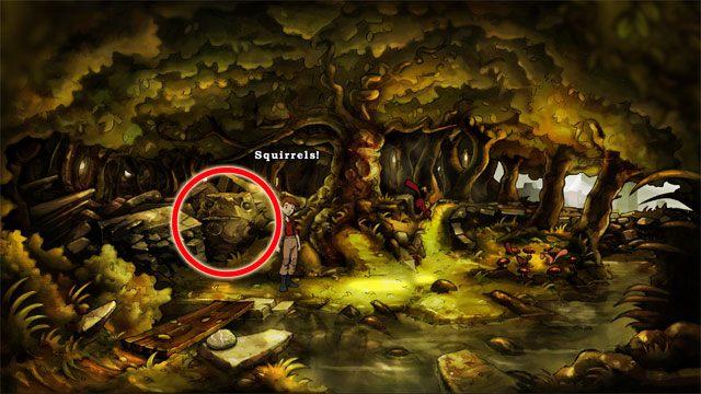 Na kamieniu tuż obok kopalni kredy użyj kruchej kredy, a Jerzyk narysuje znak - Zwykły letni dzień - Solucja - The Night of the Rabbit - poradnik do gry