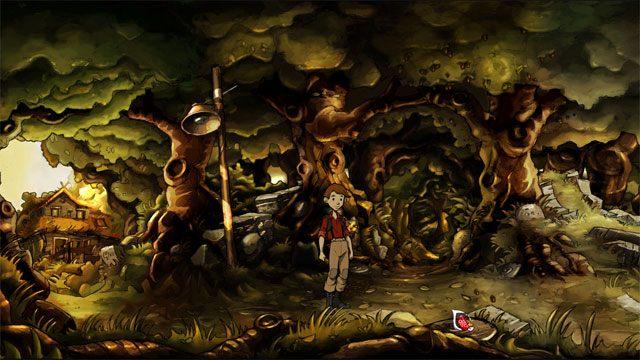 Umieść puszkę z mieszanką na bazie proszku, korą, żołędziami i marchewką na leśnym rozdrożu, czyli na wprost wejścia w głąb lasu - Zwykły letni dzień - Solucja - The Night of the Rabbit - poradnik do gry