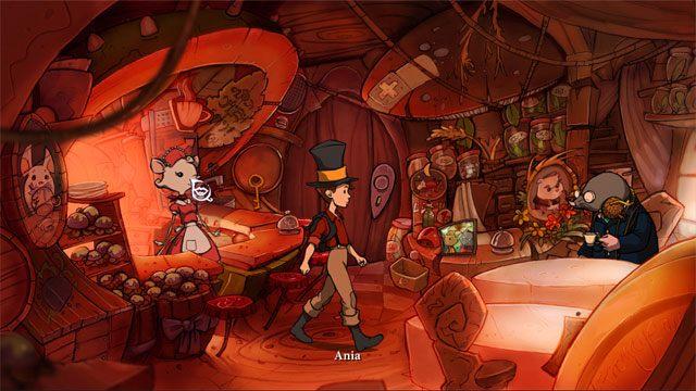 Kliknij na dzwonku po lewej stronie, a pojawi się Ania - Przygoda w Mysiborze - Solucja - The Night of the Rabbit - poradnik do gry