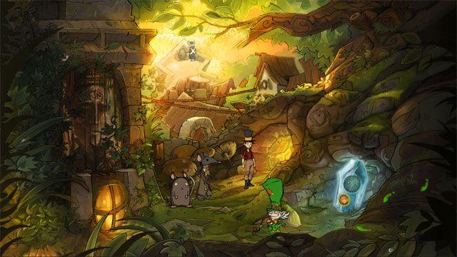 Natrafisz tu ponownie na skrzata, który ucieknie - Przygoda w Mysiborze - Solucja - The Night of the Rabbit - poradnik do gry