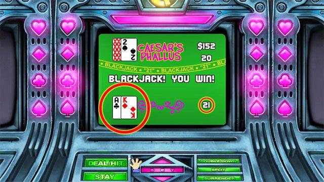 Nie wgłębiając się w szczegółowe zasady chodzi o uzbieranie 21 punktów w kartach - Pieniądze i hazard - Elementy gry - Leisure Suit Larry: Reloaded - poradnik do gry