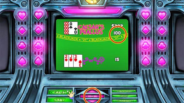 Pamiętaj, że możesz zmieniać stawkę przed rozdaniem za pomocą przycisków na dole ekranu - Pieniądze i hazard - Elementy gry - Leisure Suit Larry: Reloaded - poradnik do gry